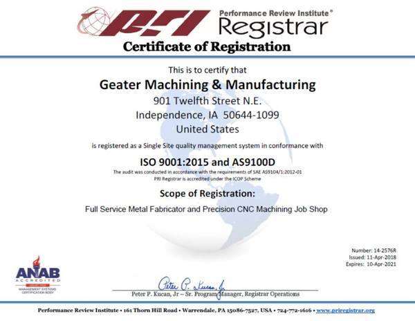 PRI Certificate of Registration