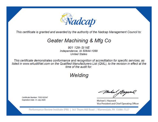 Nadcap Welding certification